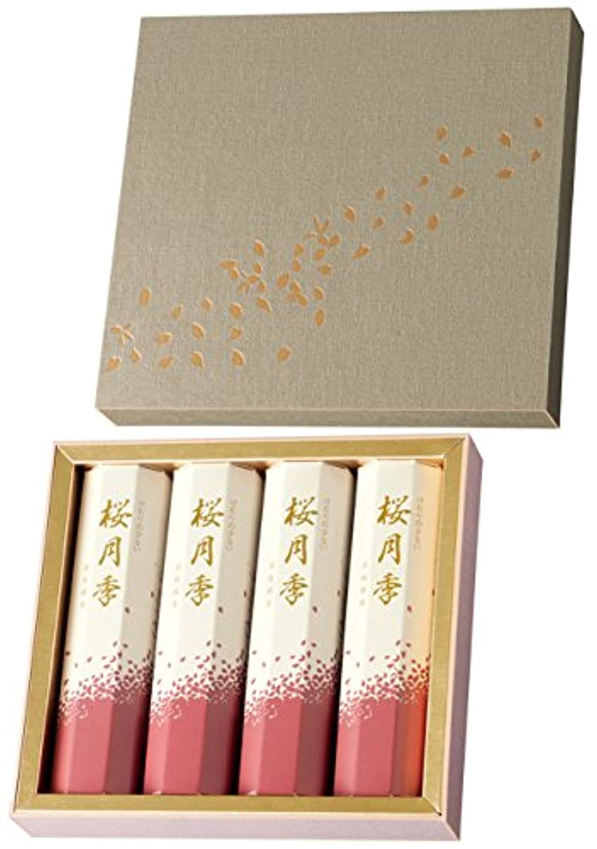 呼び出す価格プラカード玉初堂のお線香 けむりの少ない 桜月季 短寸4箱入 化粧紙箱 #6640