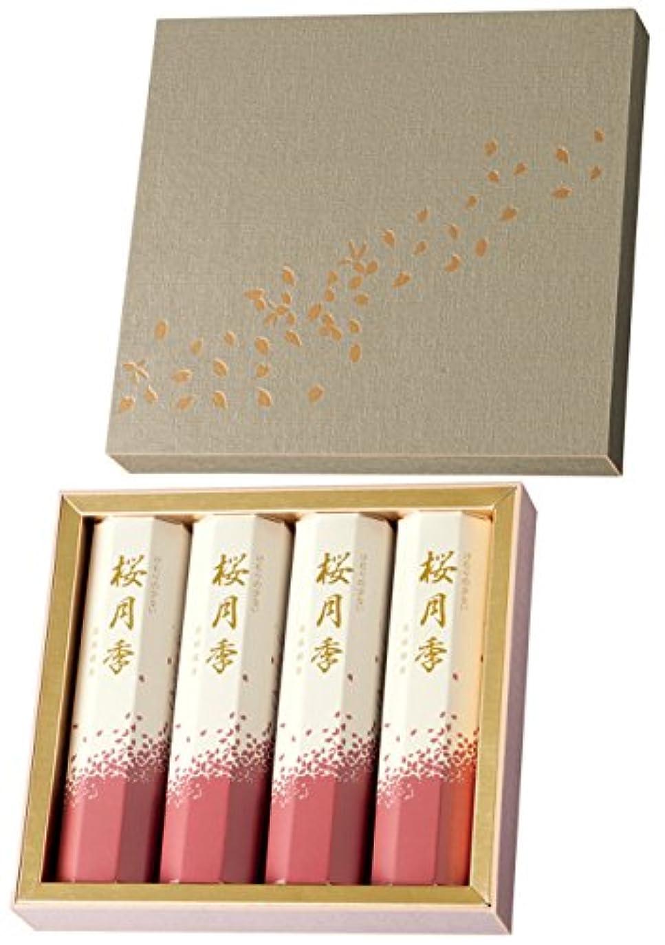 くびれた隠された苦痛玉初堂のお線香 けむりの少ない 桜月季 短寸4箱入 化粧紙箱 #6640