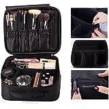 ROWNYEON Portable Travel makeup bag Makeup Case Mini Makeup Train Case 9.8'' (Black Edge)