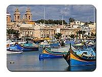 マルタ島、ボート、住宅、海 パターンカスタムの マウスパッド 海 (22cmx18cm)