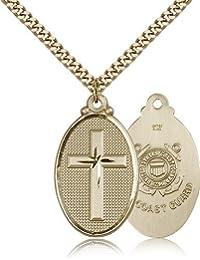 クロス/Coast Guard Medals – ゴールドメッキクロス/Coast GuardペンダントIncluding 24インチネックレス
