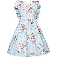 GRACE KARIN Vintage Cotton Toddler Girls Dress Floral Cross Back Birthday Party Princess Dress CL10601