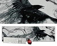 カラス特大デスクマットdsm20/1000×280/セミハードタイプ/マウスパッド/ゲーミング/高級感のあるエンボス仕様/かっこいい