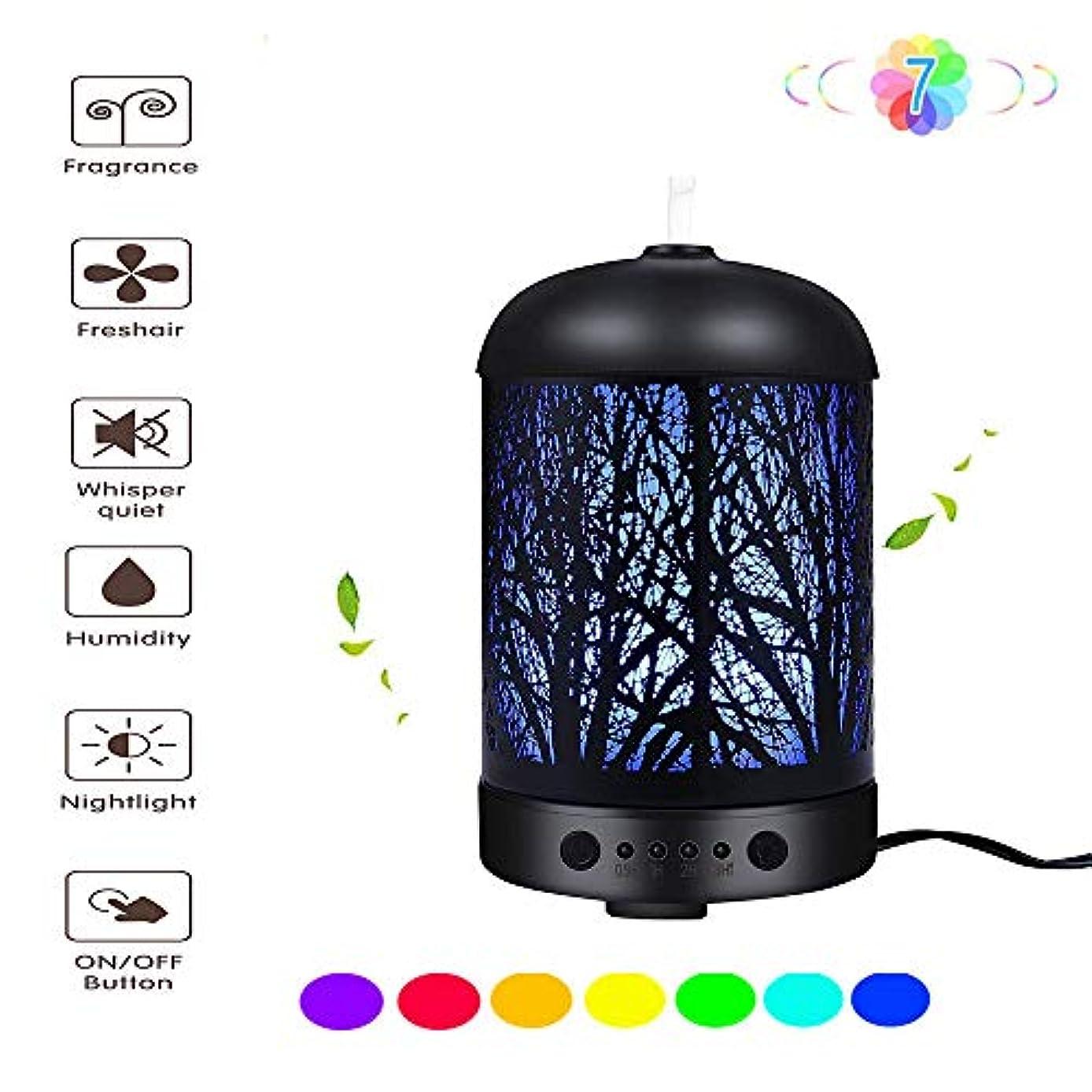 イベントソートミントマジックフォレスト100mlアロマエッセンシャルオイルディフューザー - 超音波クールミスト加湿器 - 魅力的な7色LEDナイトライト - ホームとオフィスのベッドルーム