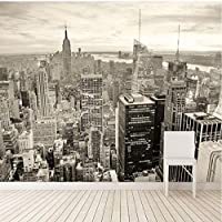 Lcymt ニューヨーク白黒都市景観壁紙パーソナライズされたカスタマイズダイニングルームリビングルームオフィス3D壁画壁紙-350X250Cm