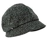 クイーンヘッド メランジダウンハット 帽子 大きいサイズ レディース ハット つば長 つば広 紫外線対策 UV 小顔効果 防寒対策 【XLサイズ(58-61cm)-ブラック】