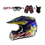 オフロードフルフェイスヘルメット、エアゴーグル+マスク+手袋、男性と女性フォーシーズンズユニバーサルロードバイクヘルメットアダルト (Color : 9005, Size : L)