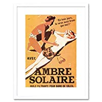 Advert French Tan Lotion Summer Solaire Ambresol Framed Wall Art Print 広告フランス語夏壁