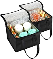 NZ Home 2 Pack Collapsible Coolers 29L x 21H x 23W | Hot & Cold Food Delivery Tote Bags | Perfect Mens Lun
