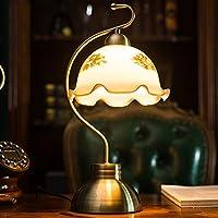 CKH ヨーロッパのアンティークブロンズランプクリエイティブオールド上海レトロ寝室研究ベッドサイドランプリビングルームガラスランプシェードランプ