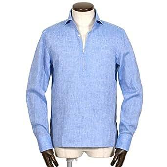(マリオムスカリエッロ) Mario Muscariello リネンポプリンカプリシャツ「CAPRI」 (サックスブルー) メンズ L