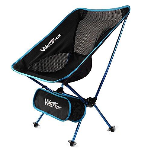 アウトドアチェア 【2017年改良版】 Wolfyok 折りたたみ椅子 コンパクト 耐荷重100kg 軽量 持ち運びに便利な専用ケース付き お釣り 登山 キャンプ用 ブルー