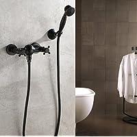 シンプルなシャワーの蛇口、アンティークブラス2つの穴2つのハンドウォールマウント浴槽シャワーセットハンドシャワー