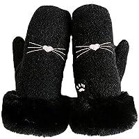 WUXiaodanDan Ladies Cute Mittens Warm Plus Velvet Thickening Gloves Outdoor Warm Gloves