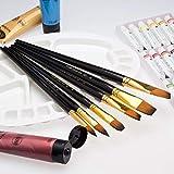 バリイチゴ屋 油絵の具セット 水彩画筆 油絵筆セット 美術 画材 画筆15本セット 画筆スタンド 可能 収納ケース付き 画像