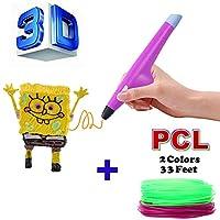 Yukia 3Dペン、3D印刷ペン低温、3dプリントペン、2色PCLフィラメント子供や大人の描画や芸術的な手作りの互換性のあるPCLフィラメントに適しています 3dペンおもちゃ