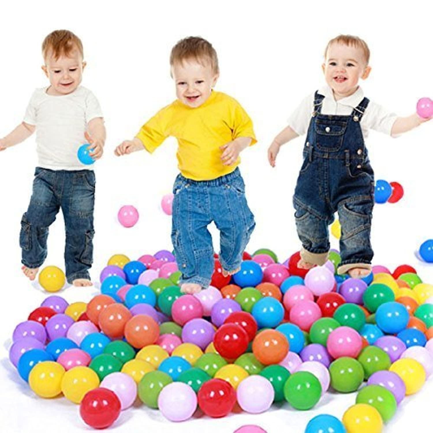 E Support 50PCS Colorful Plastic Ball Pit Balls Baby Kids Tent Swim Toys Ball Pool Ball Ocean Ball by E Support