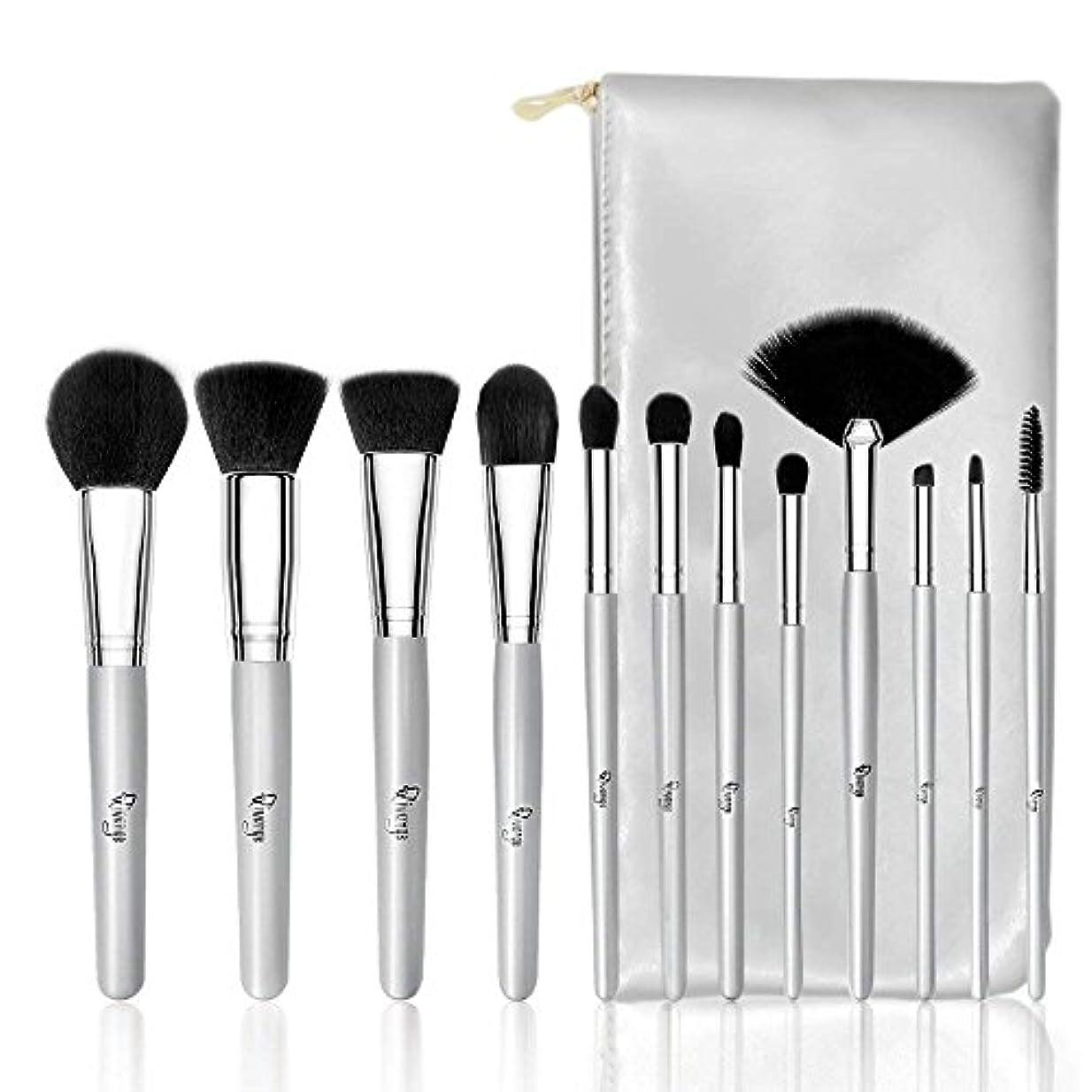 Qivange メイクブラシセット アイシャドウブラシ 化粧筆 メイクブラシ 化粧ポーチ付き(12本)