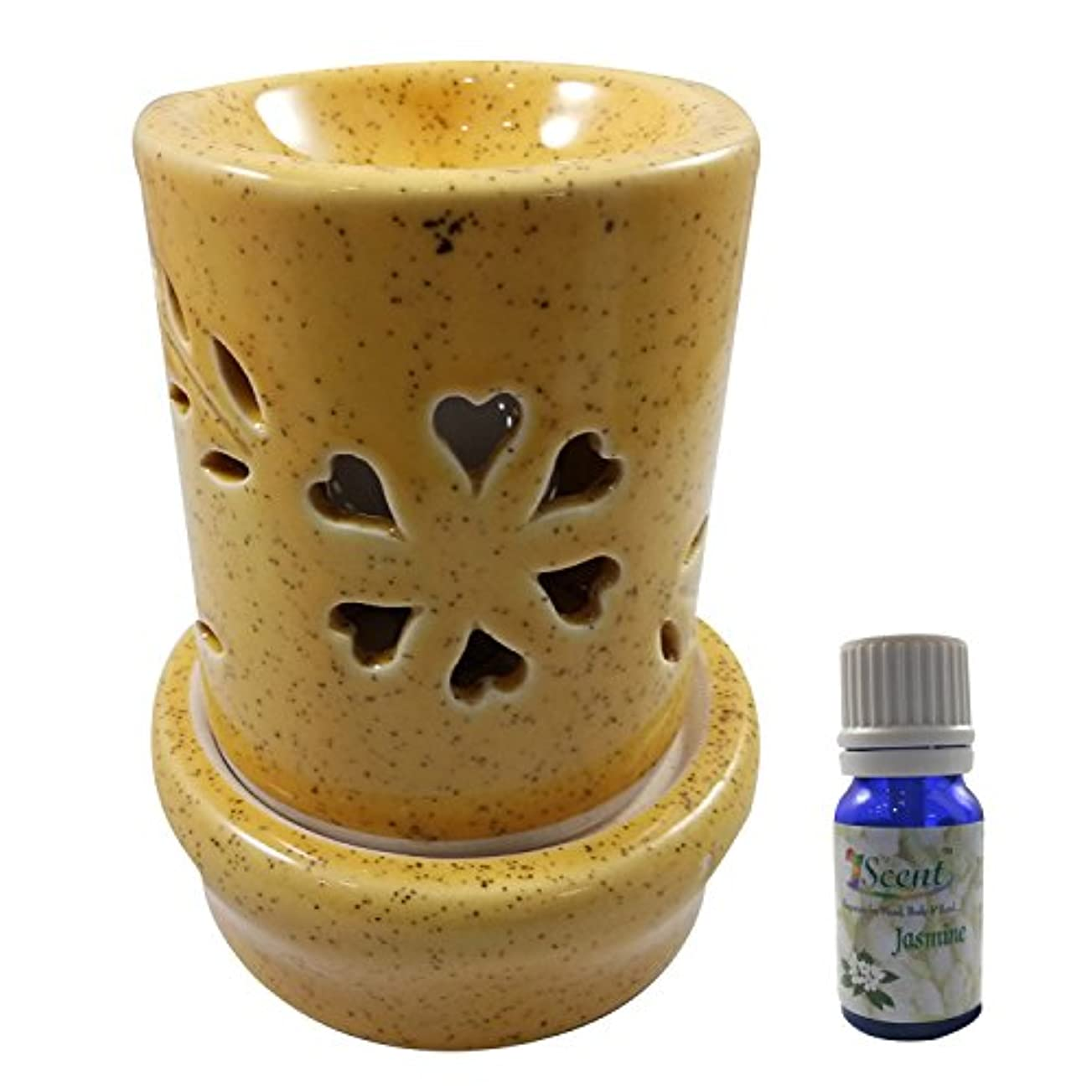 ボア魅力つま先家庭装飾定期的に使用する汚染されていない手作りセラミックエスニック電気アロマディフューザーオイルバーナージャスミンフレグランスオイル|良質ブラウン色電気アロマテラピー香油暖かい数量1