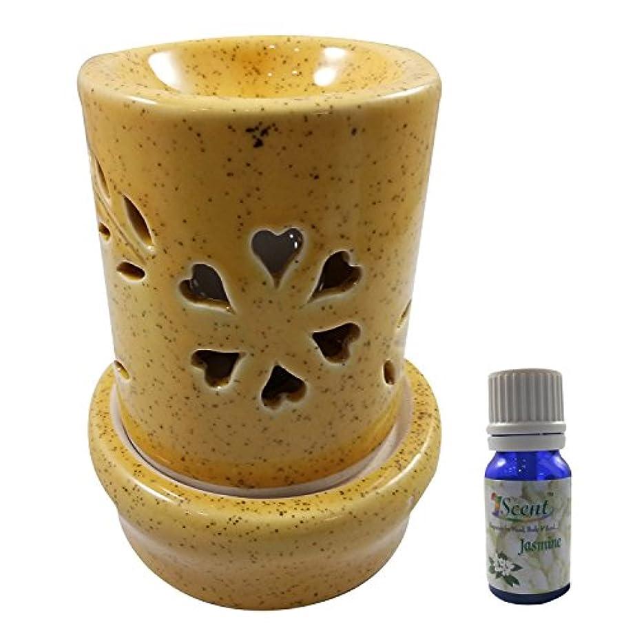 懐疑的マウスピース専制ホームデコレーション定期的に使用する汚染フリーハンドメイドセラミックエスニックサンダルウッドフレグランスオイルとアロマディフューザーオイルバーナー良質ブラウン色電気アロマテラピー香油暖かい数量1