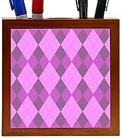 Rikki Knight Triple Purple within Purple Argyle Design Inch Tile Wooden Tile Pen Holder [並行輸入品]