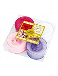 カメヤマキャンドル(kameyama candle) YANKEE CANDLE クリアカップティーライト4個入り アソート 「 ピンクフローラル 」