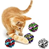 SunGrow Mylar Crinkle Balls for Cats, 1.5 - 2 Inches, Shiny and Stress Buster Toy, Lightweight and Suitable for Multiple Cats' Play, Hours of Entertainment, Ideal for Kittens and Adult Cats, 12 Pack