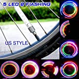 ICYCHEER 2 Pcs Ultra Bright 5 LED Motorcycle Cycling Bicycle Bike Wheel Signal Tire Light Colorful Flash Rim Lamp Bike Accessories