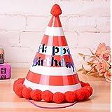 HuaQingPiJu-JP 誕生日パーティー用品ラブリーリングコーン帽子リトルソフトボールCap_Red + White