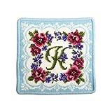 (アーンジョー)Enjeau 「イニシャルK」 日本製 ハンカチ タオル 17cm シェニール織 綿100% ギフト対応可
