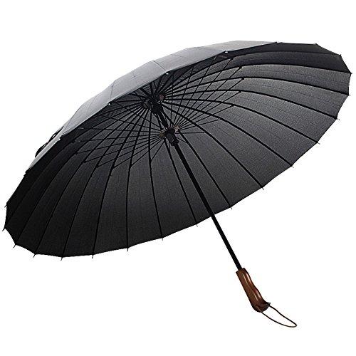 (アドンルル)adunlulu長傘 高強度24本傘骨 新強化グラスファイバー採用 耐風傘 撥水加工 紳士傘 black