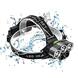 ヘッドライト 充電式 EletecPro LED ヘッドランプ 防水 4000ルーメン 6モード点灯 角度調整 アウトドアー 登山 夜釣り 工事作業 自転車 (3T6+2COB)