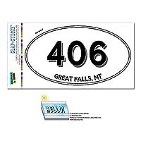 406 - グレートフォールズ, MT - モンタナ - 楕円形市外局番ステッカー