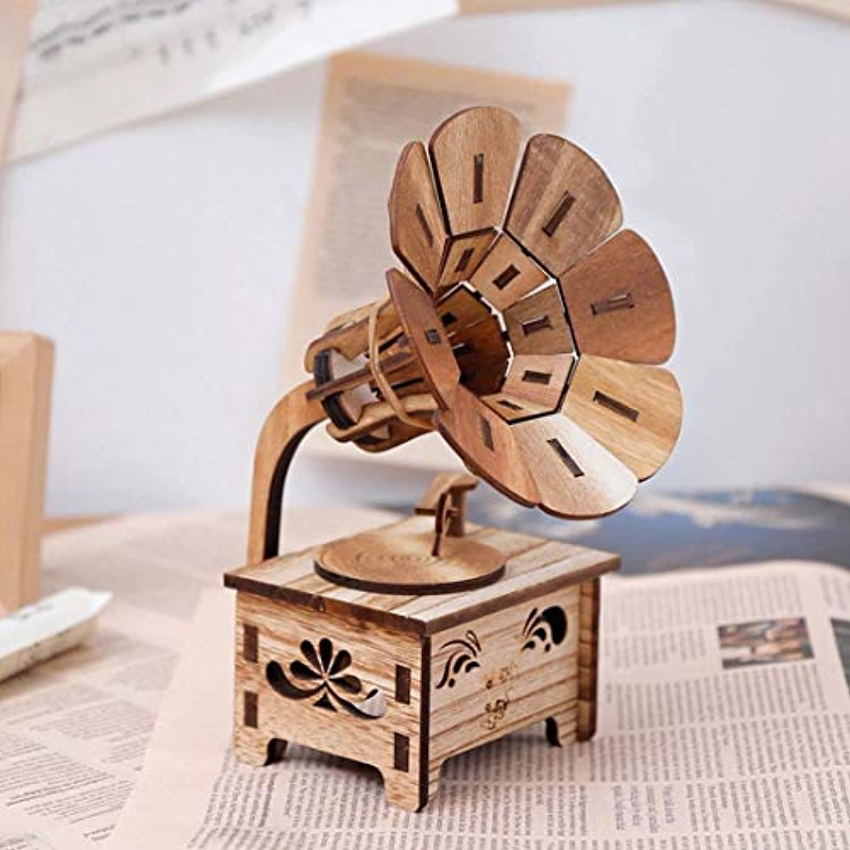 ビンテージ 木製 音声 オルゴール ハンドクランク オルゴール ホームデコレーション ギフト クラフト