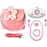 (Pink) - Elesa Miracle Kids Little Girl Plush Handbag Value Set with Princess Tiara Necklace Bracelet Clip-on Earrings Rings Little Girl Bag Handbag Purse
