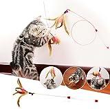 ShanTrip 3本 セット 鈴 羽根 付き ロング 猫じゃらし 猫 おもちゃ
