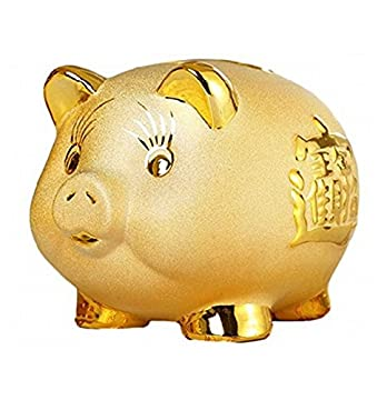 xiulin ブタ 貯金箱 ラッキー アイテム 風水 開運 ゴールド 豚 金運 財運 アップ 厄除け 置物 商売繁盛 縁起物 オブジェ (S)