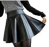 (パレストレンド)PLACE TREND レディース スカート ソフト フェイク レザー ミニ フレア サーキュラー ブラック 大人 服 やわらか PU (黒 2XL)