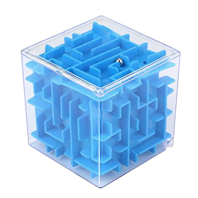 3dキューブパズル迷路おもちゃ、sacowハンドゲームケースボックス楽しい脳ゲームChallenge Fidget Toys :6.5*6.5*6.5cm/2.6*2.6*2.6inches ブルー