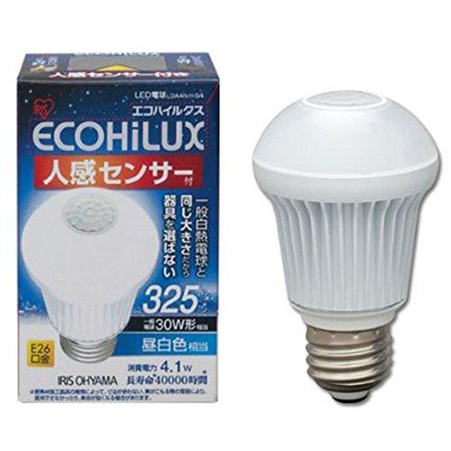 アイリスオーヤマ LED電球 口金直径26mm 30W形相当 昼白色 下方向タイプ 人感センサー エコハイルクス LDA4N-H-S4