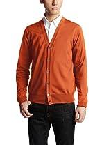 16-gauge Wool V-neck Cardigan 13080300500130: Orange