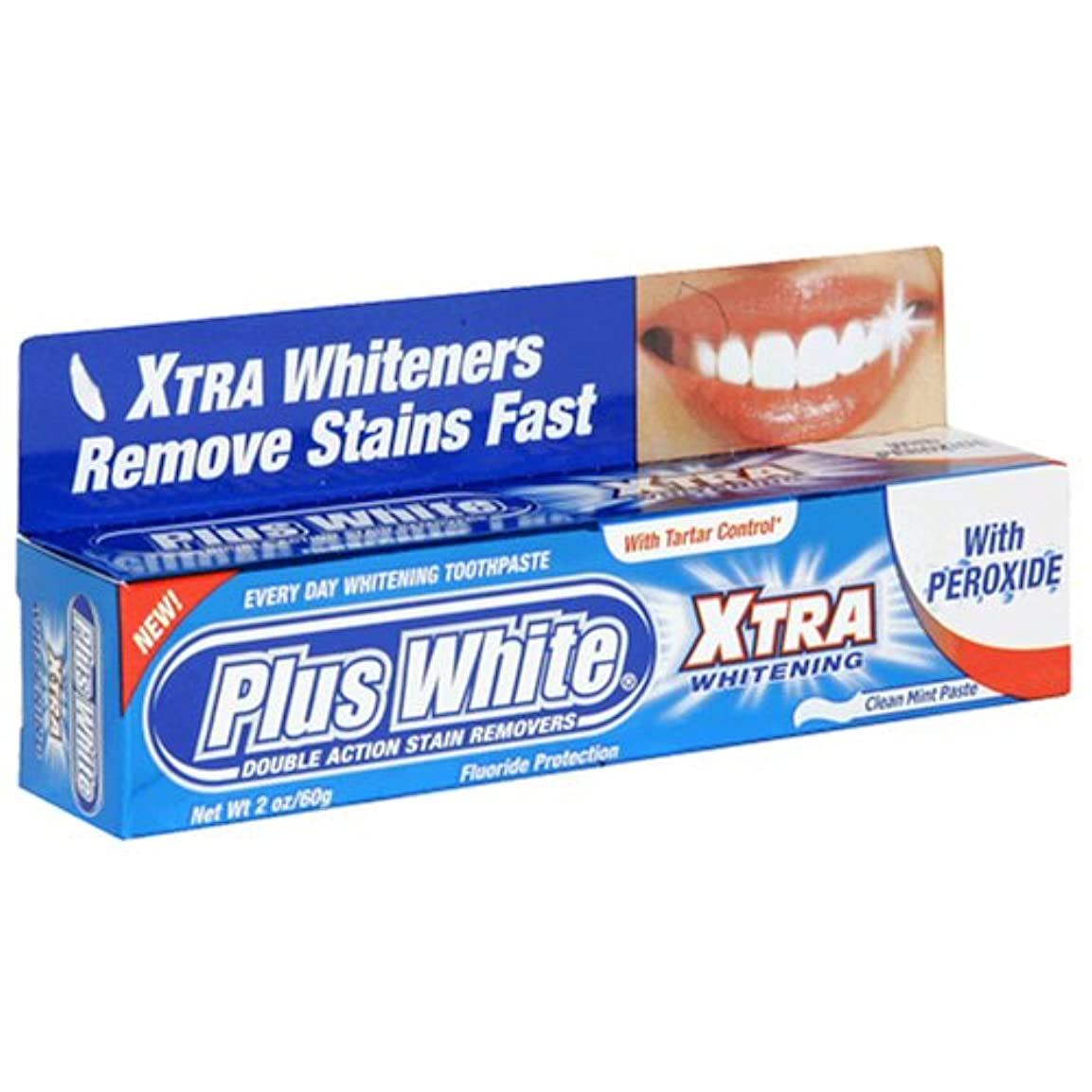 啓示祝福する厳しいPlus White Xtra Whitening Every Day Whitening Toothpaste With Tartar Control Clean Mint 2 Oz (60 G) (Case Of 6...