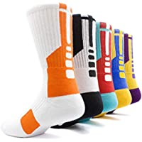 Basketball Socks Mens&Womens Pack of 5 Compression Cotton Sport Crew Sox-Great for runningridinghikingworkskiinghunting.