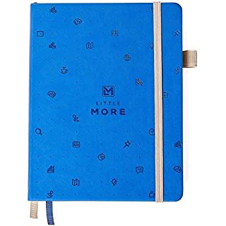 Bullet Journal ドットグリットノートブック - ドット入りノート /ジャーナル 厚紙のハードカバー付き - レザーポケットバレットプランナー (7*5,5) / ページ番号& ペンループ付きダイアリー 女性および女児向き+ステッカー