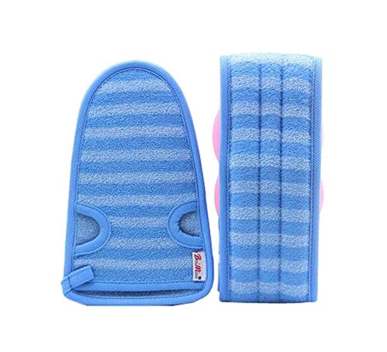 ファッション自分のいつ2つの柔らかいバスミットの剥離手袋バス用ベルト、青