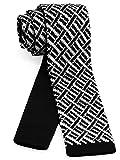 【ダブリューアンドエム】 W&M ニットタイ ナロータイ ネクタイ ビジネス 洗濯可能 幾何学 模様 柄 バーズネスト ブラック × ホワイト