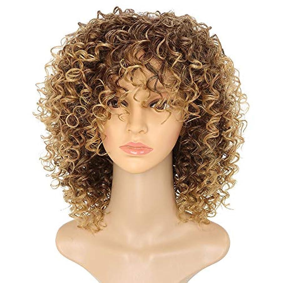 好意石化する彼女のヘアエクステンションショートアフロウィッグブラウンウィメンズカーリーキンキーオンブルブロンドネイチャーブラックアフリカ合成ウィッグ14インチ