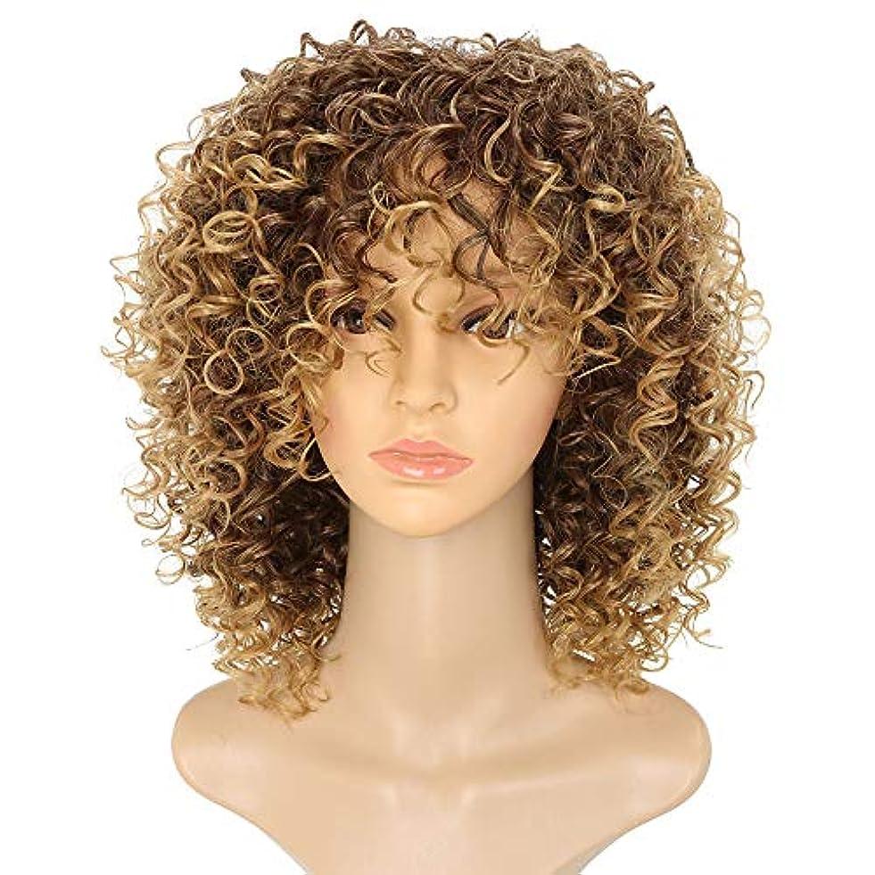 珍味練る変化するヘアエクステンションショートアフロウィッグブラウンウィメンズカーリーキンキーオンブルブロンドネイチャーブラックアフリカ合成ウィッグ14インチ