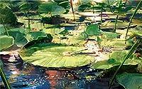 Mbwlkj 3D 壁紙の壁画の新しい中国の Hand-Painted 池の蓮の葉の壁画アートの絵画、モダンなリビングルームの装飾が施されたリビングルーム-400Cmx280Cm