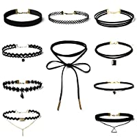 Edary Gothic Choker Neckalce Set Black Clavicle Necklace Lace Choker for Women and Girls(10PCS/Set)